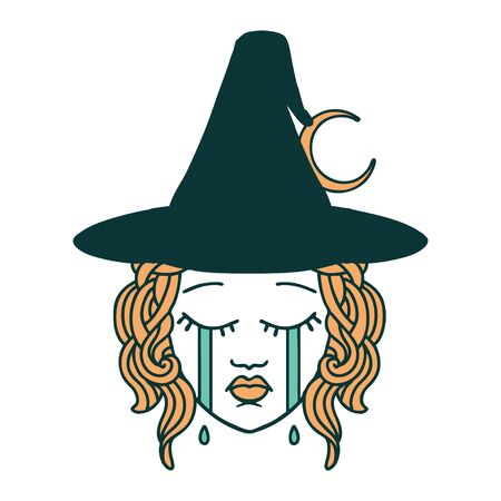 Retro Tattoo Style crying human witch character Illustration