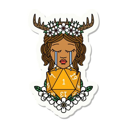 sticker of a crying human druid with natural one D20 roll