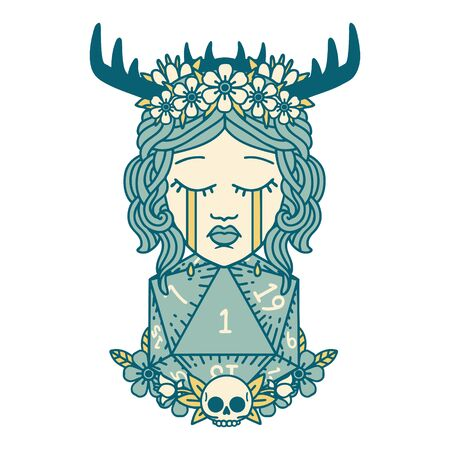 Retro Tattoo Style crying human druid with natural one D20 roll