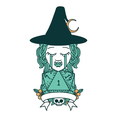 Retro Tattoo Style crying half orc witch character with natural one roll