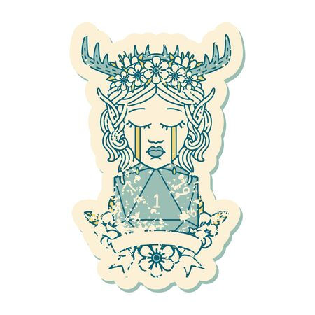 Retro Tattoo Style sad elf druid character face with natural one D20 roll