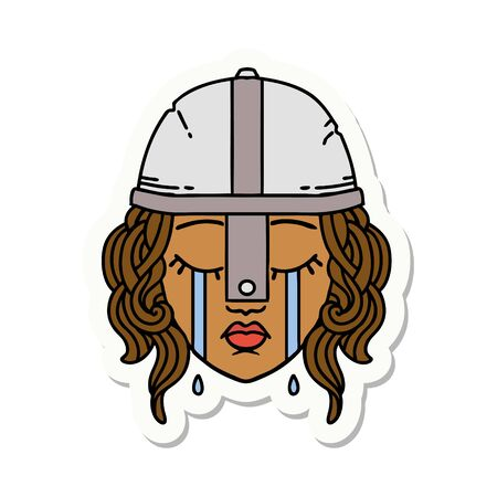 sticker of a crying human fighter