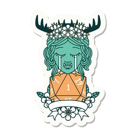 sticker of a crying orc druid character with natural one roll