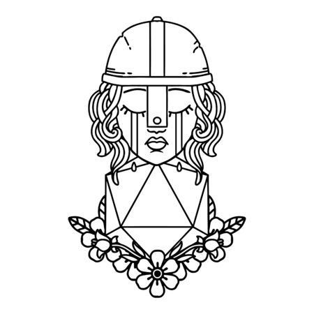 Black and White Tattoo linework Style crying human fighter with natural one D20 roll