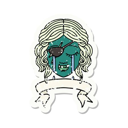 Retro Tattoo Style crying orc rogue character face