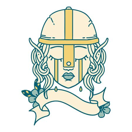 Retro Tattoo Style crying elf fighter character face Illustration