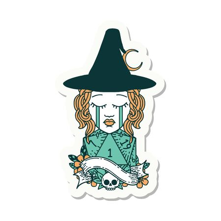 sticker of a crying human witch with natural D20 roll