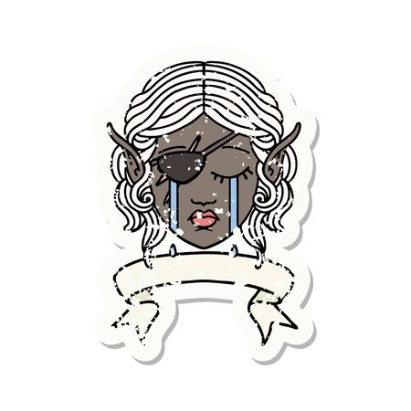 Retro Tattoo Style crying elf rogue character face with banner