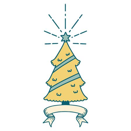 scroll banner with tattoo style christmas tree with star