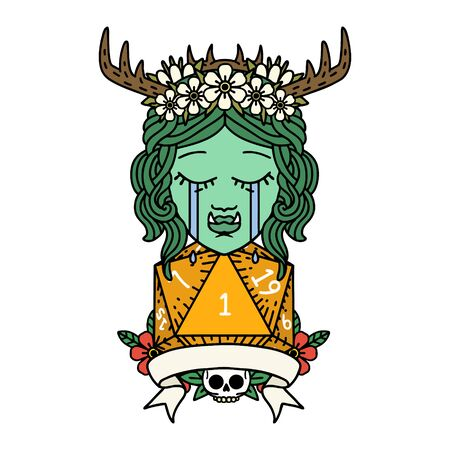 Retro Tattoo Style crying orc druid character with natural one roll