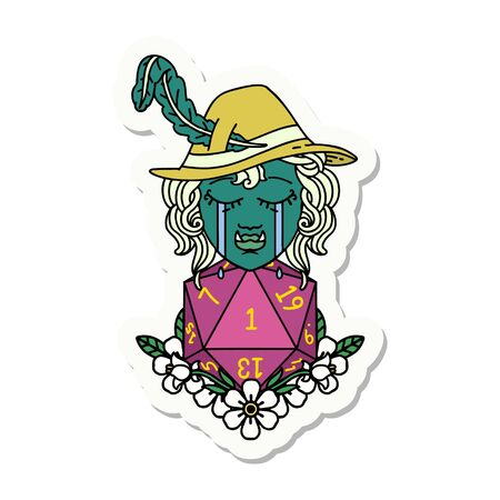 sticker of a sad half orc bard character with natural one d20 roll