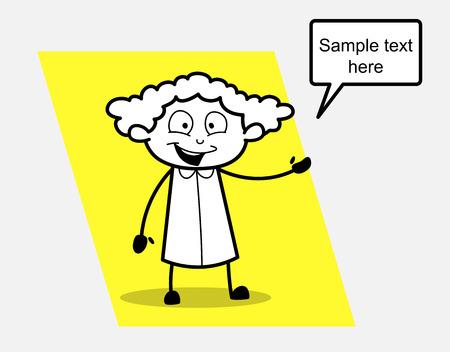 Happy Saleswoman Presenting Concept