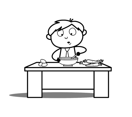Cartoon Boy Cooking Vector Illustration Illustration