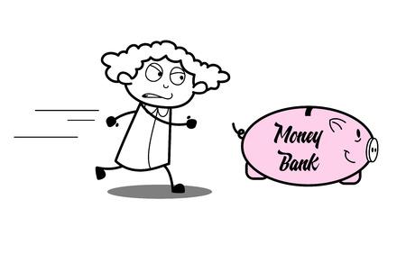 Cartoon Angry Girl Running Behind Piggy Bank