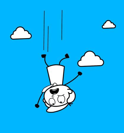 Cartoon Boy Falling from Sky