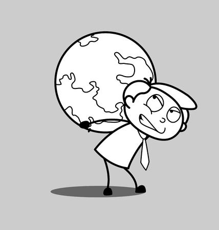 irritate: Irritated Businessman Suffering Earth Burden Illustration