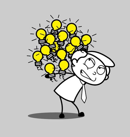 Cartoon Employee Carrying Many Bulbs