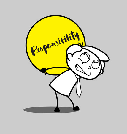 Cartoon Irritated Employee Carrying a Burden of Responsibility Illustration