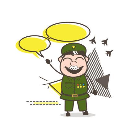 Cartoon Army Man with Speech Bubbles Vector Illustration Illustration