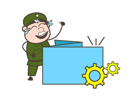 Cartoon Army Man with Process Banner Vector Illustration
