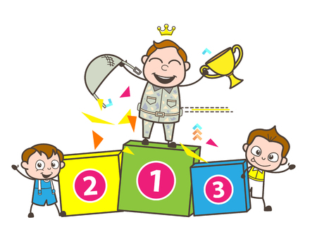 Winner Army Man With Trophy And Kids Vector Illustration Royalty Free Cliparts Vectors Stock Image 81867238