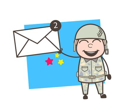 inspector: Cartoon Army Man Showing Messages Vector Illustration Illustration