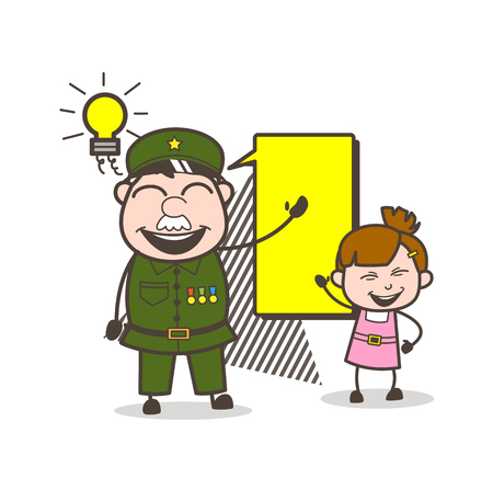 Happy Army Man Planning with Little Girl Vector Illustration