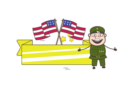 sergeant: Old American Army Man with US Flags and Banner Vector Illustration