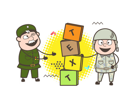 Old and Young Army Man with Blocks Banner Vector Illustration Illustration