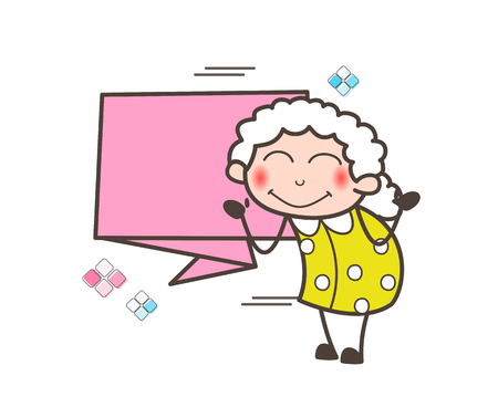 Cartoon Blushing Granny with Banner Vector Illustration Иллюстрация