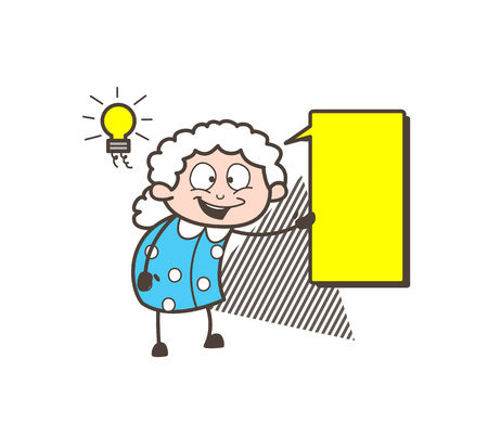 Cartoon Granny Showing a Message Banner Vector Illustration