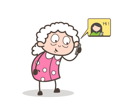 Cartoon Granny Talking on Phone Vector Illustration