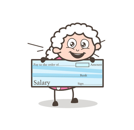 Cartoon Granny Showing a Cheque Vector Illustration Иллюстрация