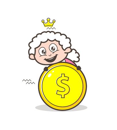 Cartoon Granny with Dollar Coin Vector Illustration