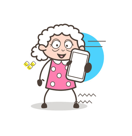 Cartoon Granny Showing a Smartphone Vector Illustration