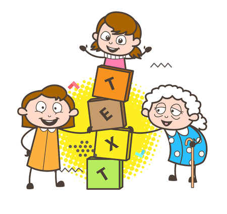 Cartoon Granny with Kids Playing Blocks Game Vector Illustration