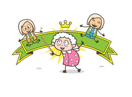 Cartoon Granny with Kids and Ribbon Banner Vector Illustration