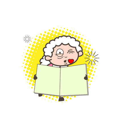 Romantic Cartoon Granny Kissing and Showing a Book Vector Illustration