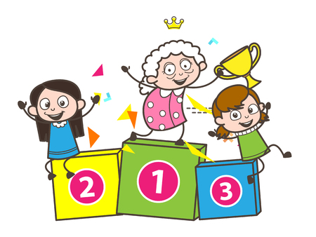 Cartoon Granny with Funny Kids Vector Illustration