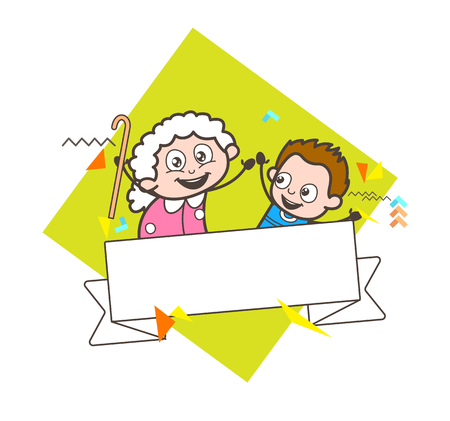 comedy: Cartoon Granny with Kid Boy and Message Banner Vector Illustration Illustration