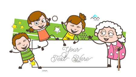 Cartoon Granny with Happy Kids Vector Illustration