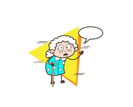 Surprised Cartoon Granny  with Speech Bubble Vector Illustration Illustration
