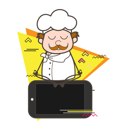 Cartoon Chef Doing Meditation on Mobile Vector Illustration Illustration