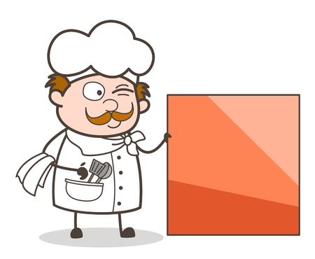 Cartoon Chef with Blank Banner Vector Illustration