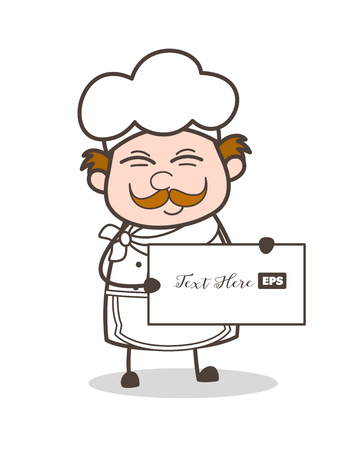Cartoon Chef Showing Blank Banner Vector Illustration