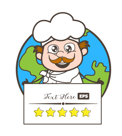 Cartoon Chef with Rating Banner Vector Illustration