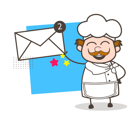 Cartoon Chef Showing Messages Vector Illustration
