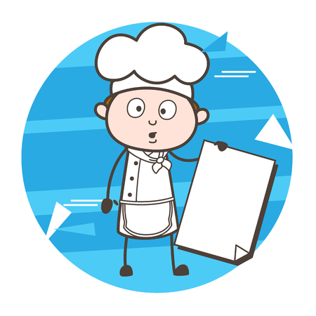 Surprised Cartoon Chef with Blank Banner Vector Illustration