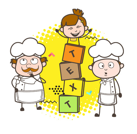 Cartoon Chefs with Cute Little Girl and Blocks Banner Vector Illustration