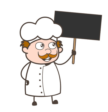 Cartoon Chef Holding a Placard Vector Illustration